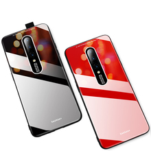 For Oneplus 7 pro case Luxury Colorful Tempered Glass Soft Silicone Bumper Back Cover For One plus 7 Hard Protective Coque Capa