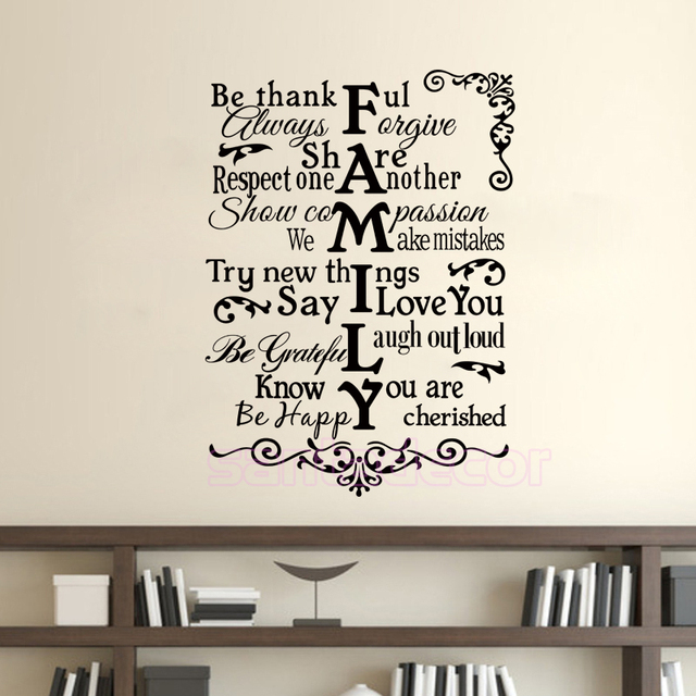 Family English Vinyl Wall Sticker Quote Decals Lettering Removable Mural Art Wallpaper Living Room Bedroom Home
