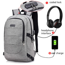 Fashion Unisex Backpack USB Charge Anti Thief Mochila Headphone Interface Port Lock Business Laptop Travel Bags