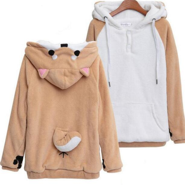 Harajuku Japanese Kawaii Hoodies Women Sweatshirts With Ears Cute Doge Muco Winter Plush Lovely Muco Anime Hooded Hoodie