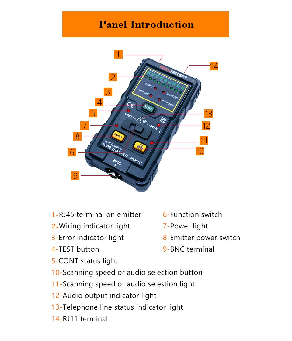 Peakmeter Ms6816r Cable Wire Tracker Telephone Line Dc Level Network Status Indicator Circuit Package Include 1ms6816r Multi Functions Trackers 1colorful Box 1user Manual 1test 1headphone