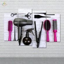 лучшая цена Haircut Tools Wall Art Canvas Painting Posters and Prints Decorative Picture Decoration Home For Hair Salon Decoration 4 Pieces