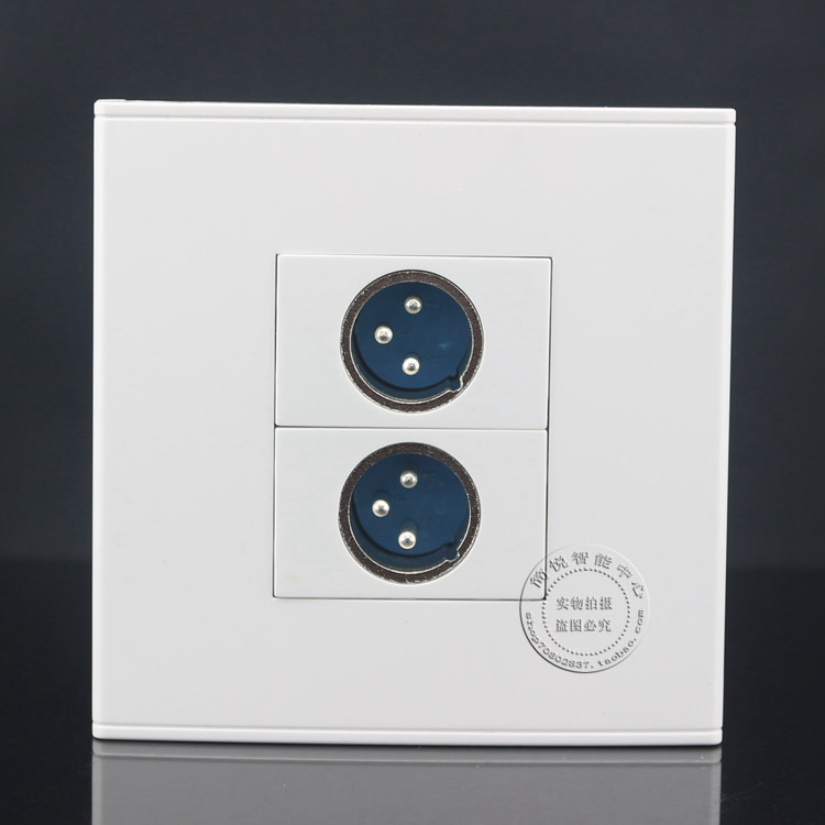 Wall Face Plate 2 XLR Jack Outlet Socket Assorted Panel Faceplate 86x86mm single double port rj45 thick wall plate faceplate wall mount installation with rj45 & rj11 keystone socket outlet
