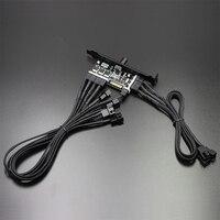 fan Speed Controller for CPU Case HDD VGA PWM Fan PCI Bracket Power by 12V 3pin/4pin fan hub 8 Channels PC Cooler Cooling Fan