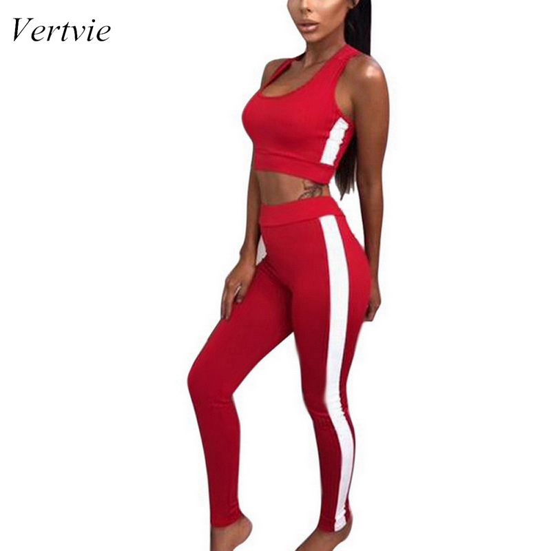 Vertvie Leggings Workout-Clothing Sport-Sets Fitness Running Gym Vest Slim Tight-Fitting