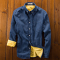 Мужские Рубашки Платья Вскользь Утолщение С Длинным Рукавом Чистый Цвет Рубашки Хлопка