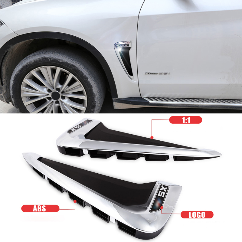 <font><b>Car</b></font> Styling Air Flow Fender ABS Side <font><b>Wing</b></font> Intake Vent Covers For BMW X5 F15 X5M <font><b>LOGO</b></font> 2014 2015 2016 2017 image