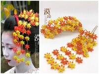 Hand Made Hairpin Cotton Cloth Hair Clip Maple Leaf Barrettes Anime Cosplay Custom Made Accessories Kimono Fan