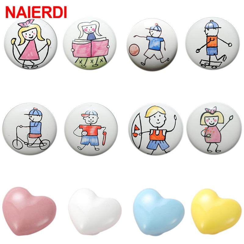 NAIERDI Children Room Ceramic Single Round Wardrobe Handle Kitchen Garden Door Handle Cabinet Handle Cartoon Furniture Handles
