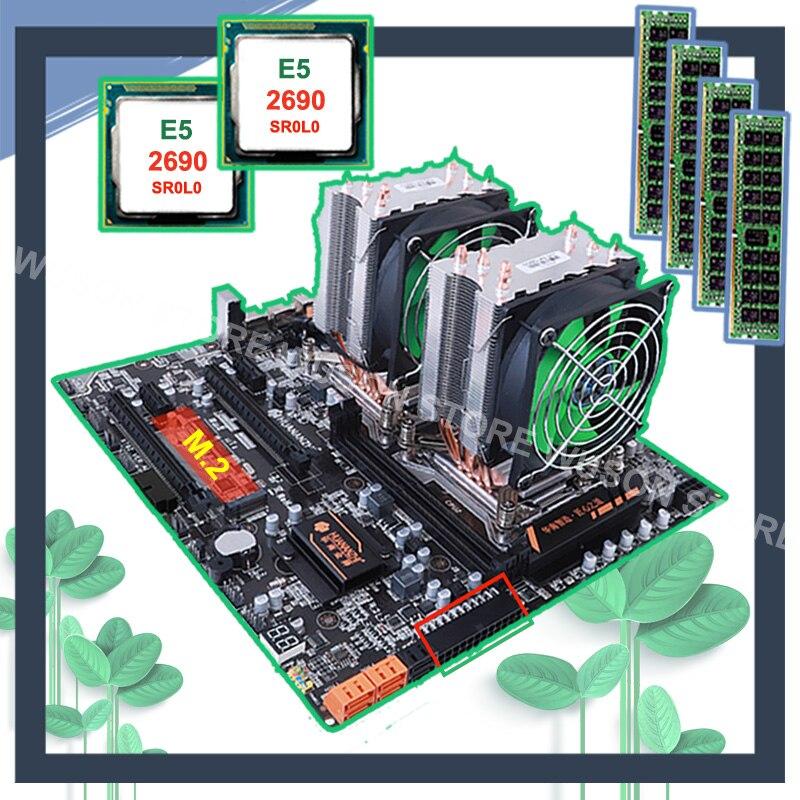 Desconto HUANANZHI dual X79 motherboard com M.2 E5 slot dual LAN port dual CPU Xeon 2690 2.9 GHz CPU coolers RAM 64G (4*16G) RECC