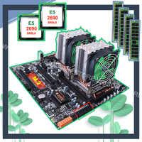 Discount HUANANZHI dual X79 motherboard with M.2 slot dual LAN port dual CPU Xeon E5 2690 2.9GHz CPU coolers RAM 64G(4*16G) RECC