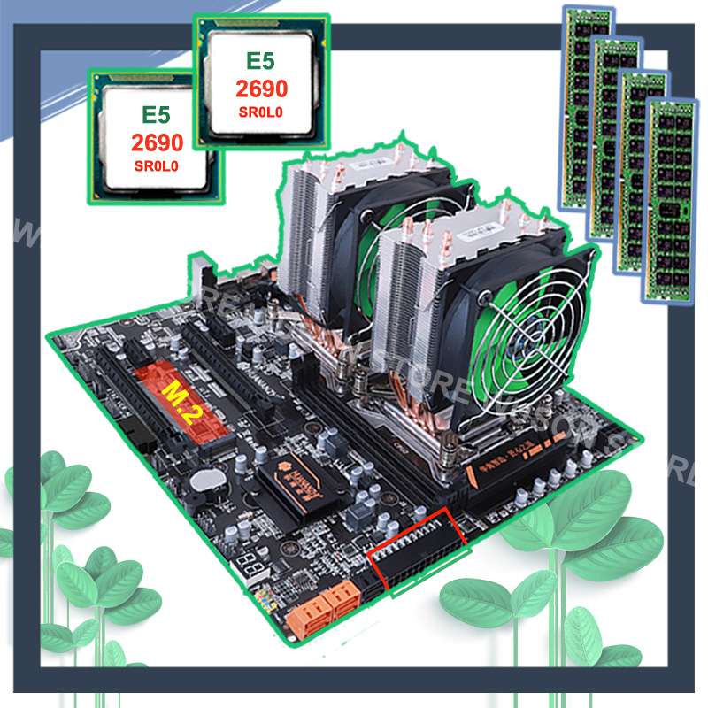 HUANANZHI dual X79 moederbord met M.2 slot dual lan-poort korting moederbord met dual CPU Xeon E5 2690 2.9GHz RAM 64G (4*16G)