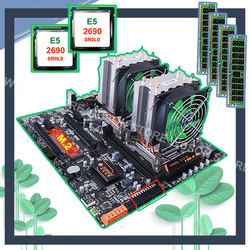 HUANANZHI dual X79 motherboard with M.2 slot dual LAN port discount motherboard with dual CPU Xeon E5 2690 2.9GHz RAM 64G(4*16G)