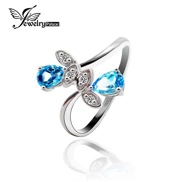 New Authentic Tear Drop Blue Topaz Leaf Ring Solid 925 Sterling Silver Fashion Bijouterie Natural Gemstone Charm Vintage Jewelry