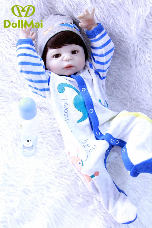 """Мальчик bebes reborn dolls 22 """"NPK полный Силиконовый reborn baby dolls для ребенка подарок может войти в воду мягкие куклы BJD"""