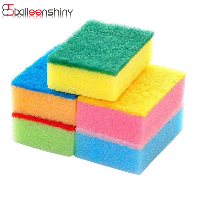 BalleenShiny 5pcs/set Mini Sponge Dishes Cleaning Brush Household Kichen Gadget Pot Bowl Cleaner Glass Cup Tables Cleaning Tools