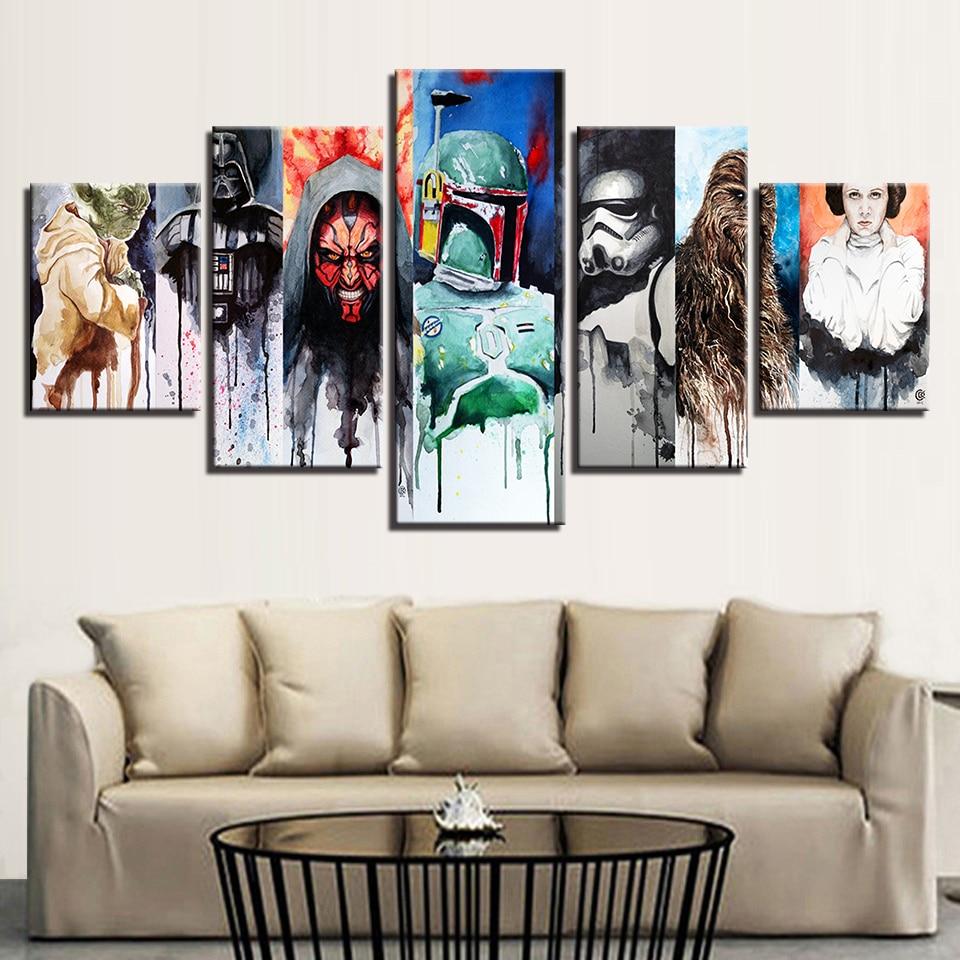 Canvas Wall Art Gambar Dekorasi Rumah Ruang Tamu 5 Pieces Star Wars Lukisan Hd Cetakan Film Karakter Abstrak Poster Kerangka Star Wars Painting Hd Printsart Pictures Aliexpress