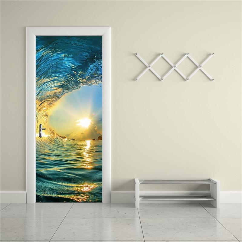 2 개 / 대 방수 DIY 3D 벽 스티커 벽화 포스터 PVC 문 - 가정 장식 - 사진 3