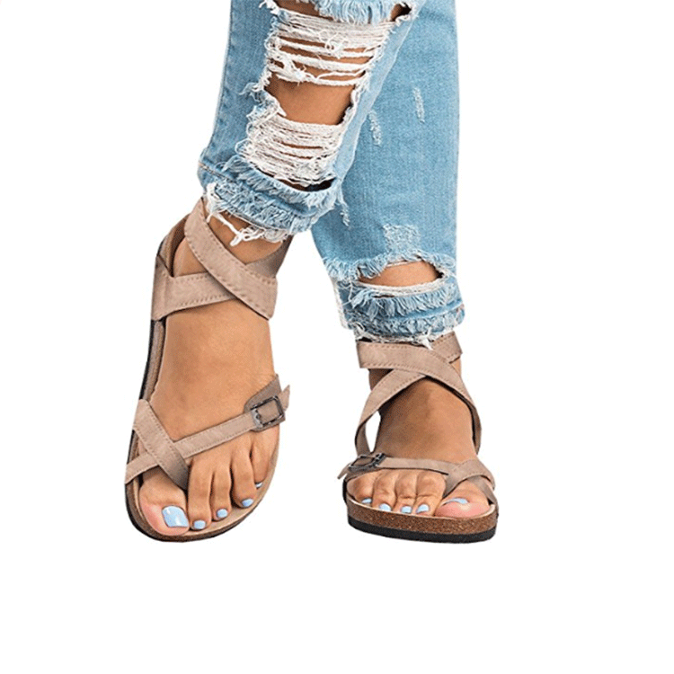 D'été Style Sandalias Rome Sandales 1 Femmes La Beige Justsl Chaussures black brown beige Casual Gladiateur Arrivent black Appartements 2 2 Nouveau 2 Taille 1 Plus Pour qFnwZqp6XO
