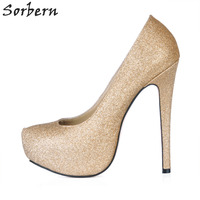 Sorbern Shiny Glitter Gold Shoes Night Party Club Footwear Shoes Women Pumps 14Cm High Heels Pointed Toe Platform Evening Shoes