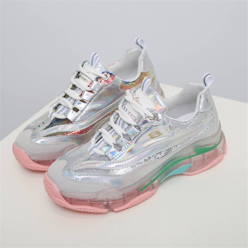 Brand 2019 Summer Sequin Mesh women sneakers Summer Footwear fashion trend Transparent Sole basket femme ladies wedges shoes