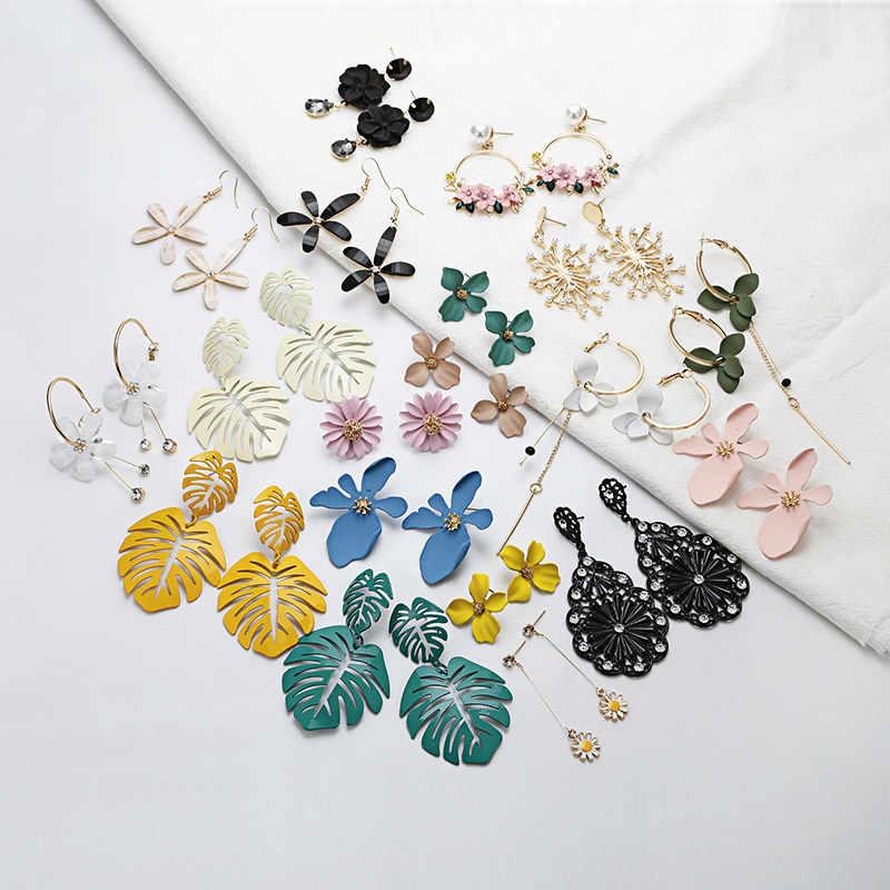 패션 새로운 2019 한국 과장된 큰 꽃 귀걸이 여성 액세서리 우아한 보석 도매