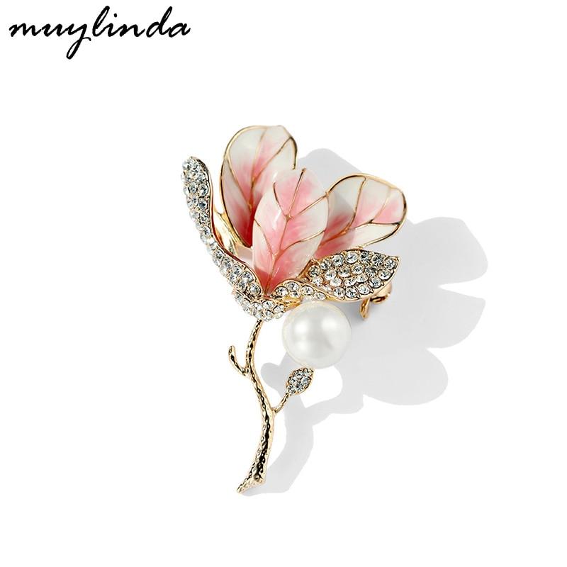 Брошь с эмалью в виде цветка тюльпана-булавка стразы кристаллы женские броши и булавки ювелирные изделия зажим для шарфа muylinda