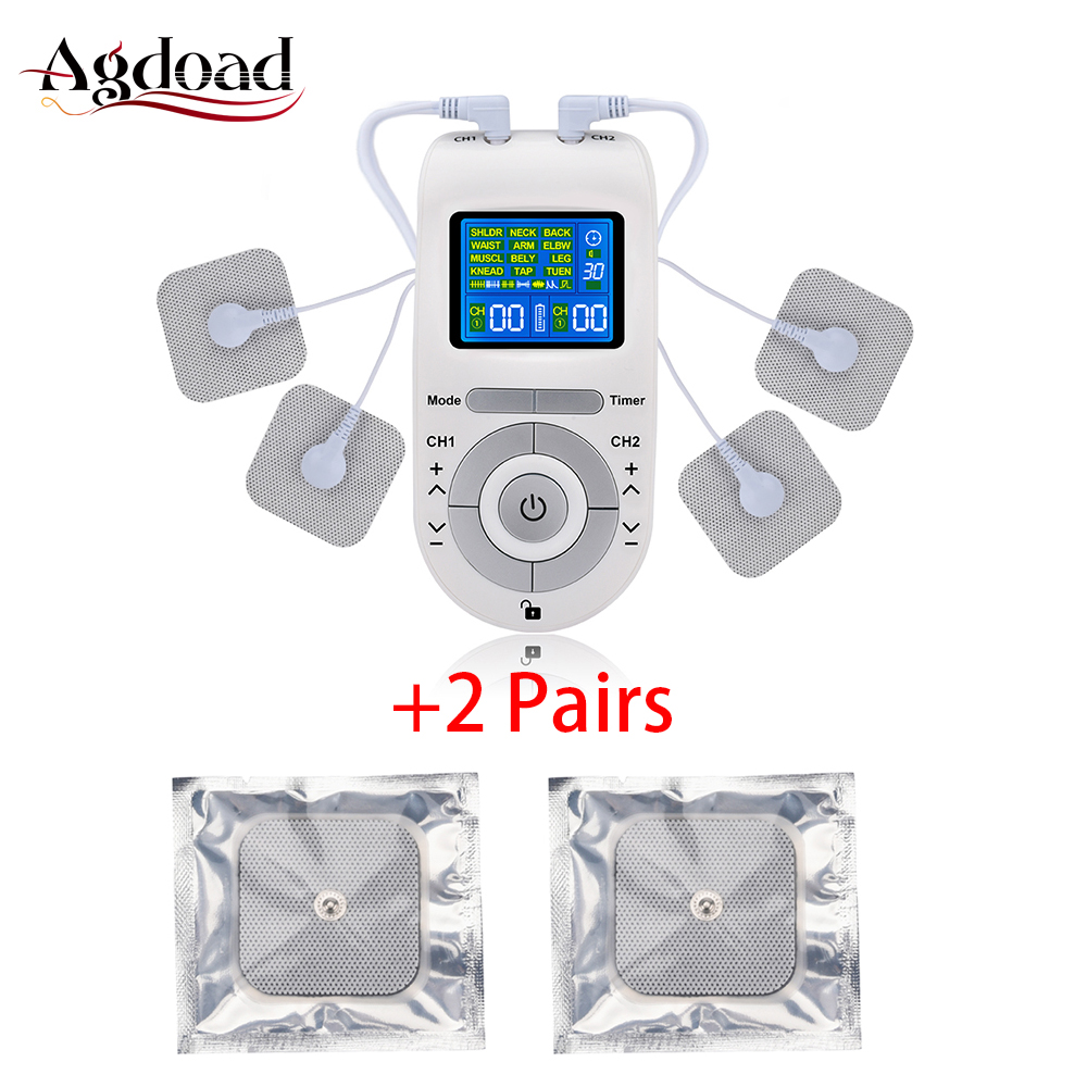 12 Modes Tens Electroestimulador Tens Machine Unit Body Massager Pain Relief EMS Muscle Stimulation With 2 Pairs Electrode Pads