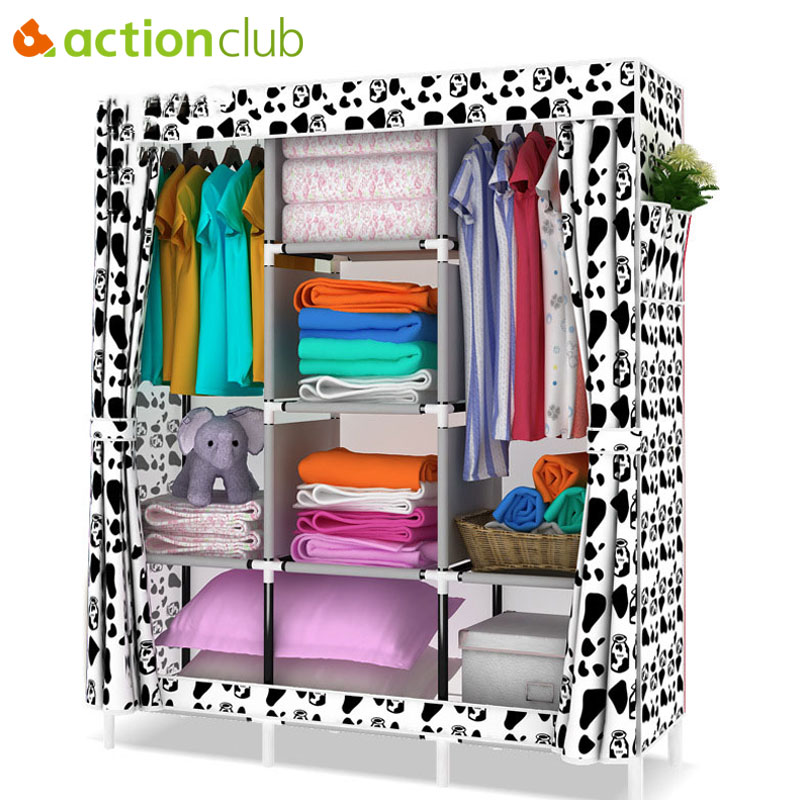 Actionclub Non-woven Folding Cloth Wardrobe DIY Assembly Easy Install Fabric Wardrobe Multifunction Storage Cabinet Room Closet actionclub fabric oxford cloth wardrobe closet diy assembly multifunction large wardrobe folding portable cabinet home furniture