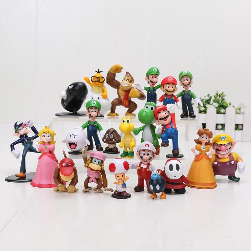 5pcs Super Mario Bros Mario Figure Luigi Mushroom Goomba Toad