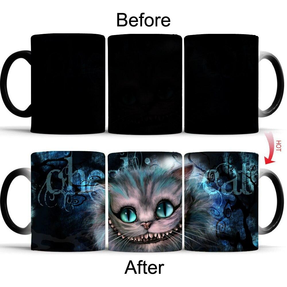Alice in Wonderland Cheshire Cat mug cambiare colore di calore di calore rivelare magia per tè e caffè mugen Creativo simpatico Regalo