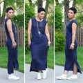 2016 New Women Dress Speed Sell Summer Dress New Quality Mixed Cotton Blue Dress Casual Loose Maxi Dresses Plus Size