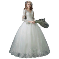 Deluxe Lace Sexy Lace Wedding Gown Long Gown Wedding Dress Winter New Custom 7683