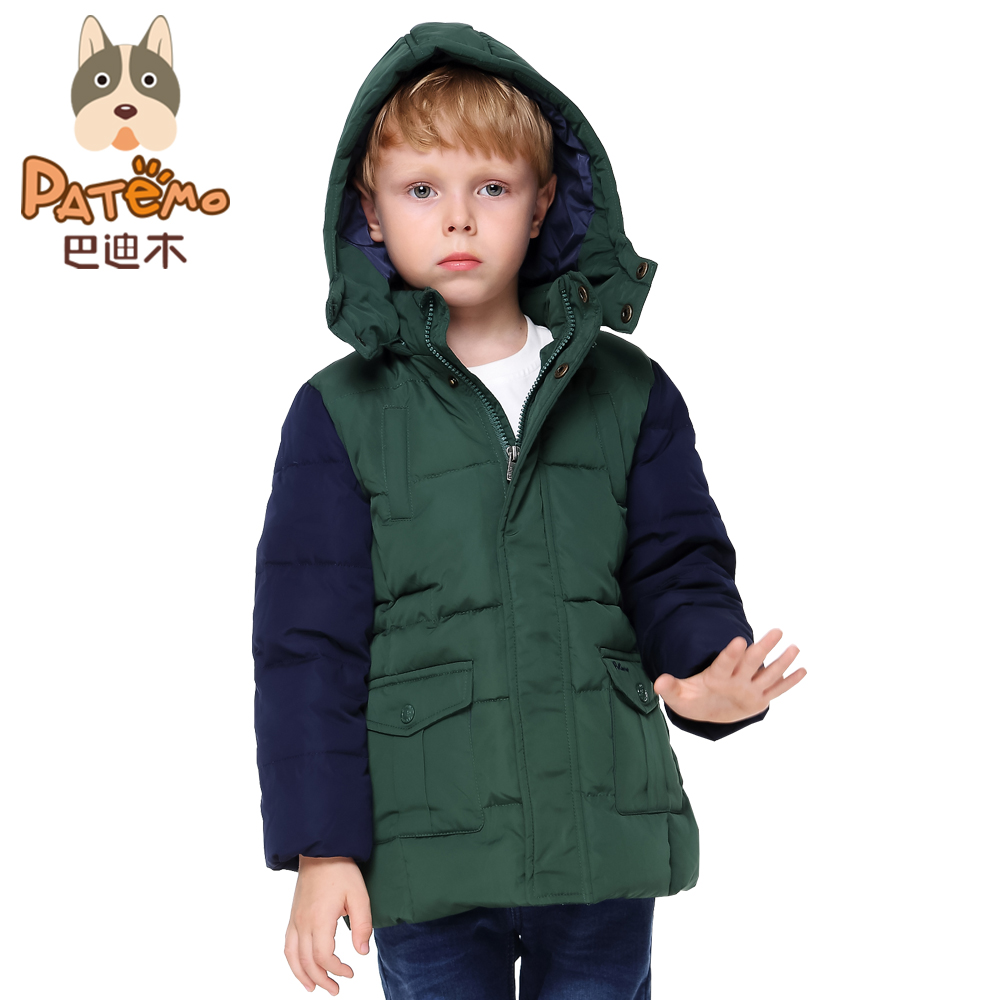 PCORA Kids Winter Coat Green Thick Zipper Parka Kids Detachable Cap Patchwork Size 4T~10T Winter Coat Warm Boys Down Jacket