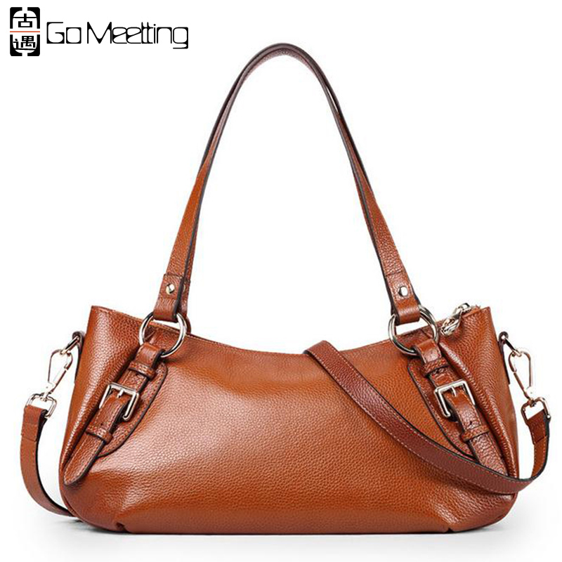 Go Meetting Brand Genuine Leather Women Shoulder Bags High Quality Cow Leather Women Handbags Fashion Messenger Bags WD30 2017 new female genuine leather handbags first layer of cowhide fashion simple women shoulder messenger bags bucket bags