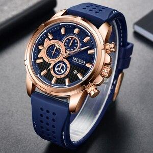 Image 4 - Megir Top Merk Heren Analoge Quartz Sport Horloges Mannen Luxe Horloge Mode Siliconen Waterdicht Polshorloge Mannelijke Klok