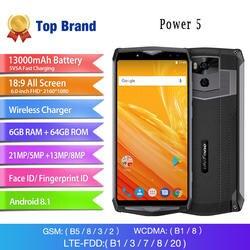 "Octa Core 4 Гб + 64 6,0 ""мобильный телефон Android 8,1 беспроводной зарядки смартфон 13000 мАч FHD MTK6763 21MP уход за кожей лица ID Ulefone мощность 5"