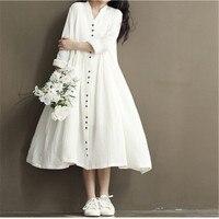 Spring Summer Women New Literary Cotton Linen Dresses Vintage Yards Loose Dress Mori Female Dress V