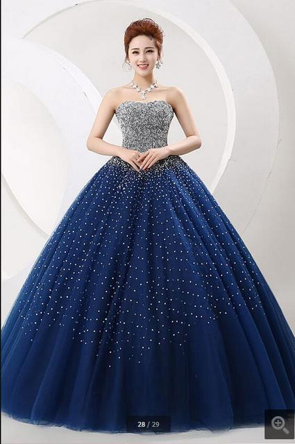 2017 vestido de festa königsblau ballkleid stark perlen sparkly prom ...