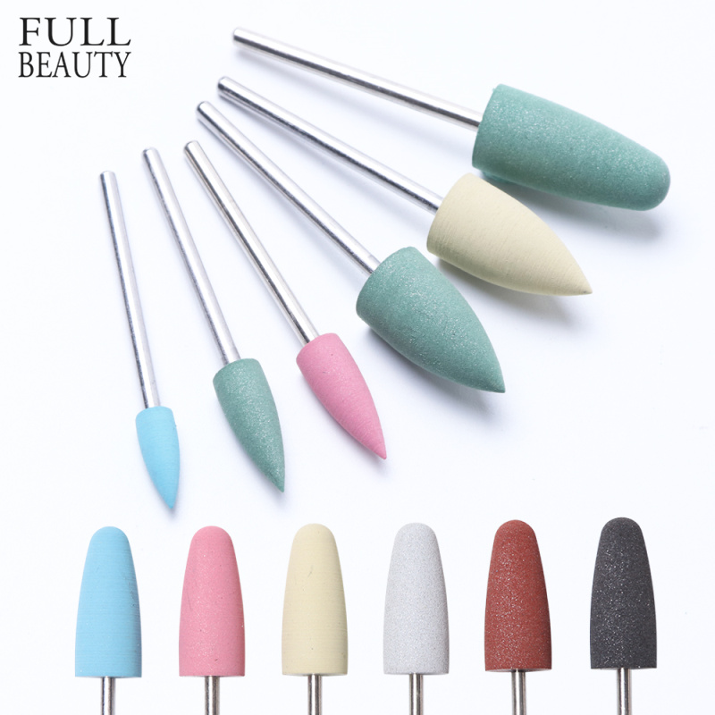 6 Type Rubber Silicon Grit Grinding Nail Drill Bit Buffer Milling Burr Cutter Polisher Manicure Electric Nail Cleaning Tool CHGJ