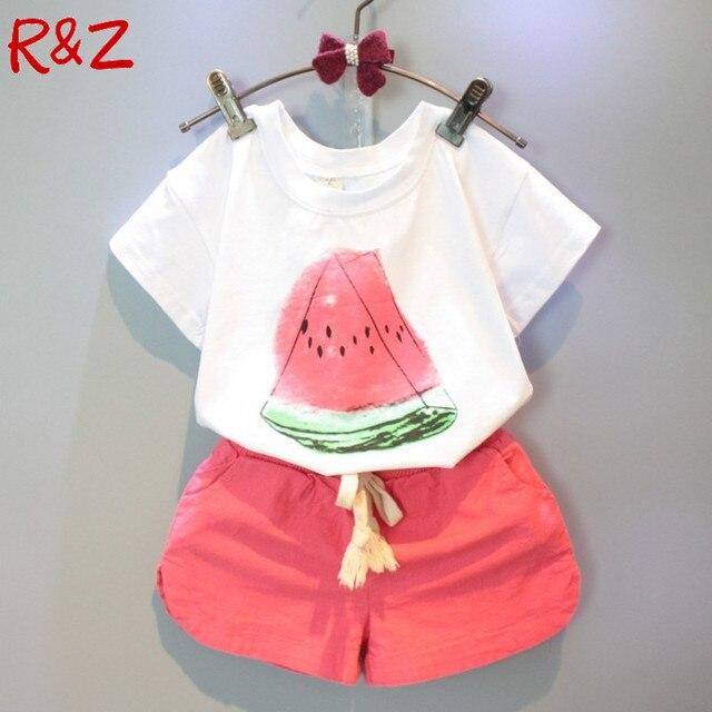 Девушки Одежда Наборы 2016 новый летний девочек одежда Арбуз Pattern Печати Белая футболка + Красные Шорты Детская одежда