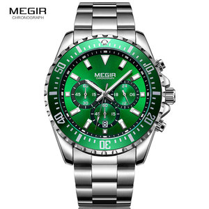 Image 2 - MEGIR Mens Chronograph Quartz Watches Stainless Steel Waterproof Lumious Analogue 24 hour Wristwatch for Man Green Dial 2064G 9