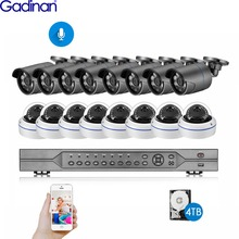 Gadinan H.265 16CH 5MP POE NVR CCTV 시스템 5MP 2MP 1080P 야외 IP66 오디오 POE IP 카메라 비디오 보안 세트 4K HDMI