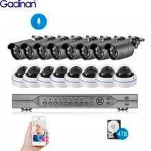 Gadinan h.265 16ch 5mp poe nvr sistema de cctv 5mp 2mp 1080p ao ar livre ip66 áudio poe câmeras ip vídeo segurança conjunto 4k hdmi