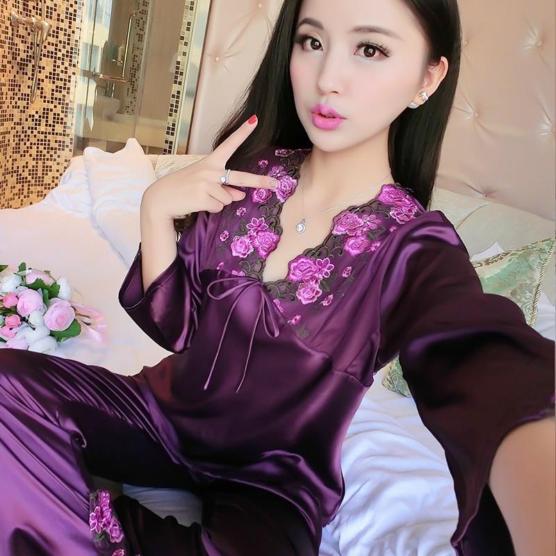 female silk   pajamas   sexy long sleeve viscose twinset spring summer autumn lace   pajama     sets   women sleepwear
