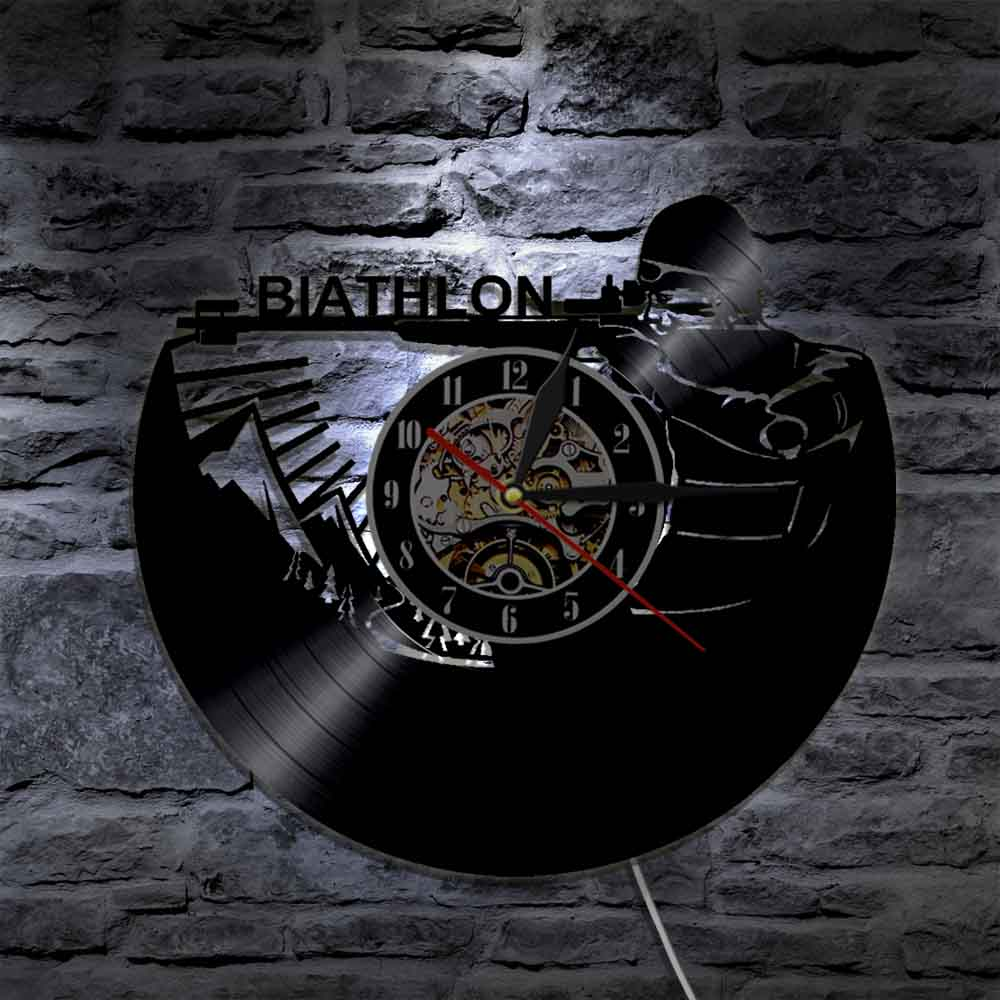1Piece Biathlon Target Vinyl Clock Record Wall Clock Sport Led Backlight Modern Vintage Illuminated Home Decor Gift For Soldier