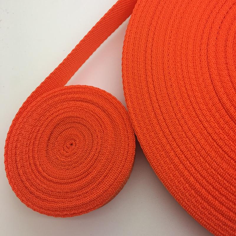 Orange 25mm Width Cotton Webbing Tape Belting Fabric Strap Bag Making Strapping