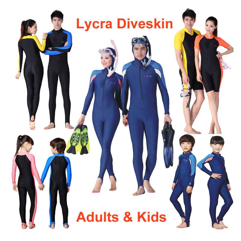 Skuba Snorkeling Berenang Lycra Dive Skin Wetsuit penuh Jumpsuit Pakaian renang Dewasa & Kanak-kanak Wanita & Lelaki Sun Protective Stinger Suit