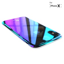 Phone Cases For iPhone X Luxury Blue Ray Fashion Mobile Accessories Gradient Hard Case for iPhone X 5.8 inch Conque Capa
