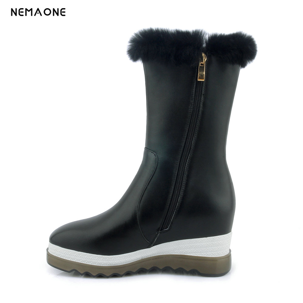 NEMAONE new fashion style real leather fur lined women mid calf winter snow boots lace up casual winter shoes zipper цены онлайн